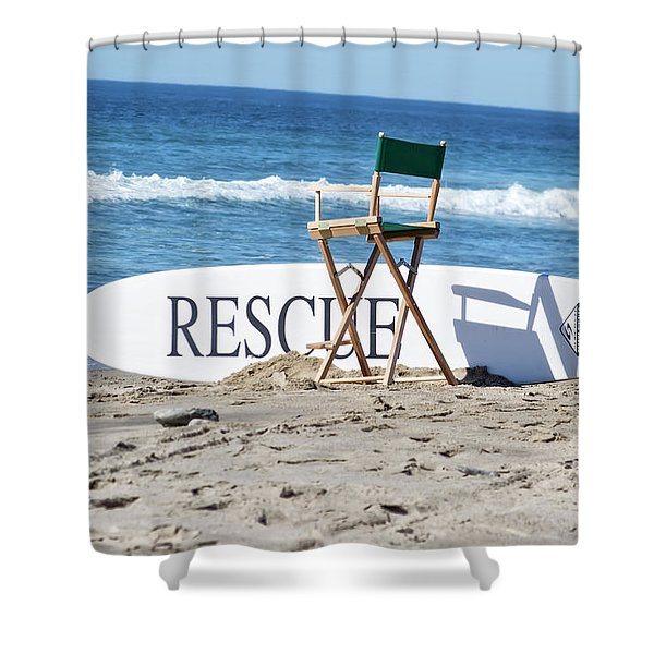 Lifeguard Surfboard Rescue Station  Shower Curtain