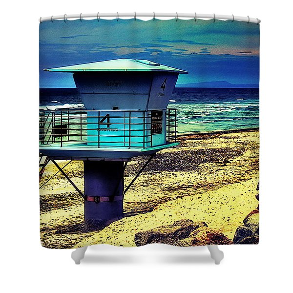 Lifeguard Tower 4 - Del Mar Shower Curtain