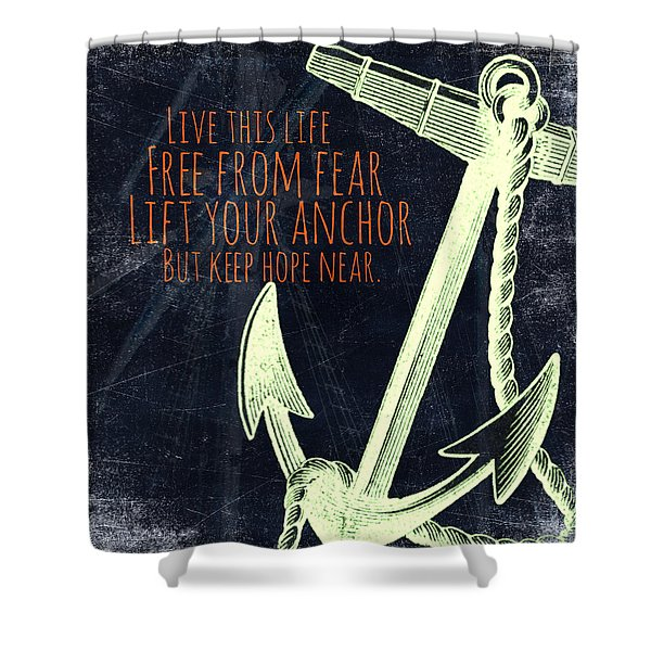 Lift Your Anchor Green Shower Curtain
