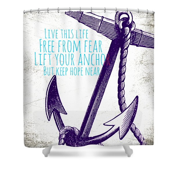 Lift Your Anchor Purple Shower Curtain