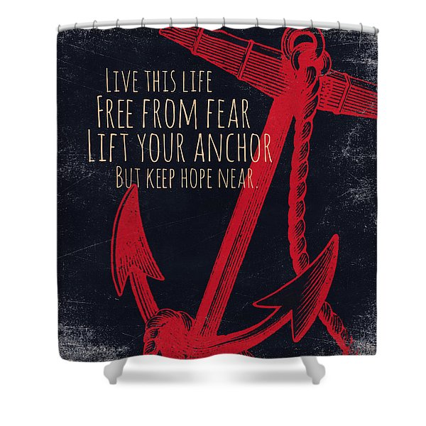 Lift Your Anchor Red Shower Curtain