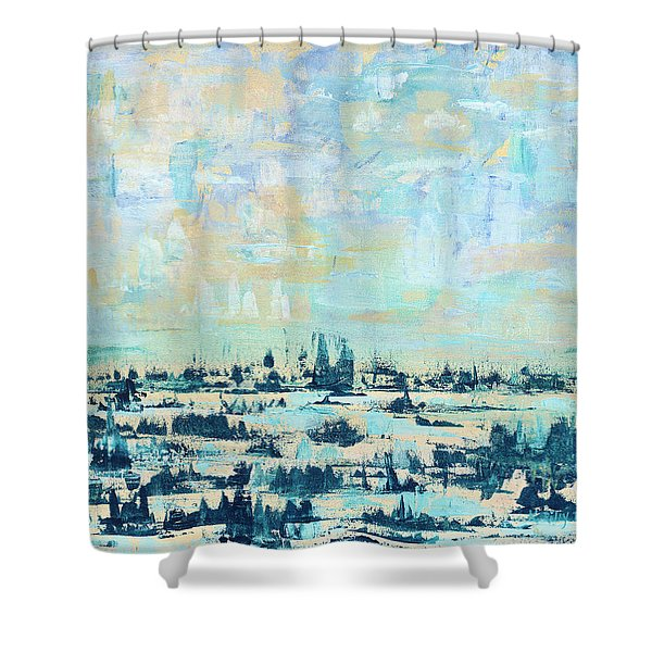 Shower Curtain featuring the painting Light Over Broad Creek by Kathryn Riley Parker