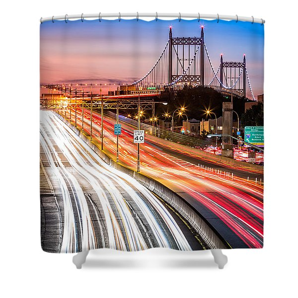 Light Trails On I-278 Near Triboro Bridge Shower Curtain
