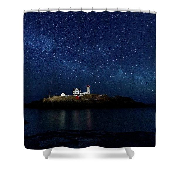 Light Up Nubble Lighthouse Shower Curtain