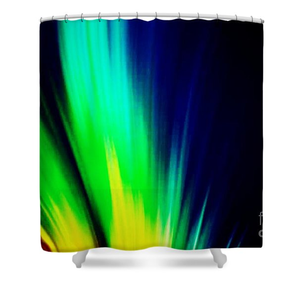 Shower Curtain featuring the mixed media Lightburst by Writermore Arts