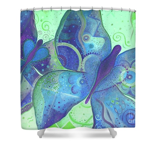 Lighthearted In Blue Shower Curtain