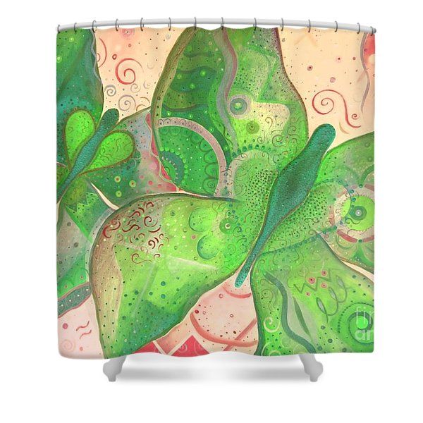 Lighthearted In Green On Red Shower Curtain