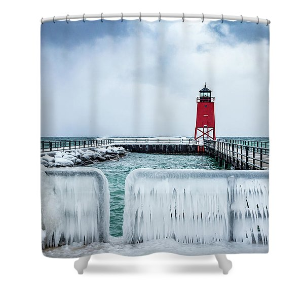 Lighthouse And Ice Shower Curtain