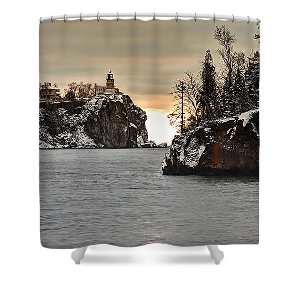 Lighthouse And Island At Dawn Shower Curtain