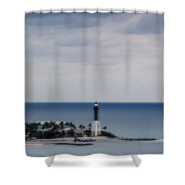Lighthouse And Rain Clouds Shower Curtain