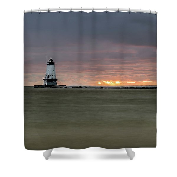 Shower Curtain featuring the photograph Lighthouse And Sunset by Lester Plank