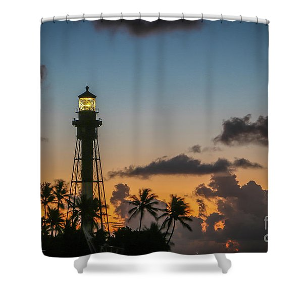 Shower Curtain featuring the photograph Lighthouse At Dawn #1 by Tom Claud
