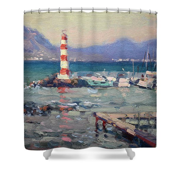 Lighthouse At Dilesi Harbor Greece Shower Curtain
