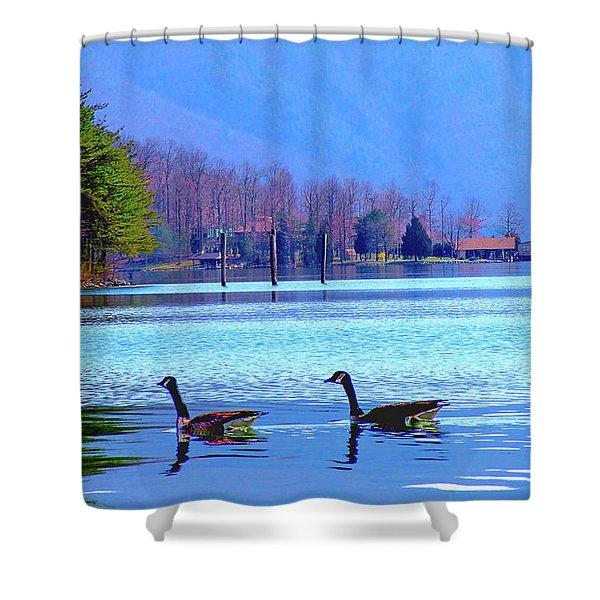 Lighthouse Geese, Smith Mountain Lake Shower Curtain