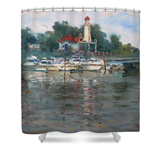 Lighthouse In Lake Shore Mississauga Shower Curtain
