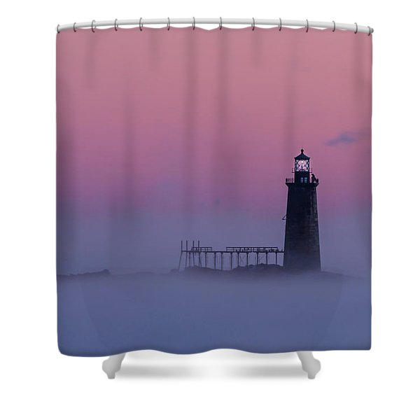 Lighthouse In The Clouds Shower Curtain