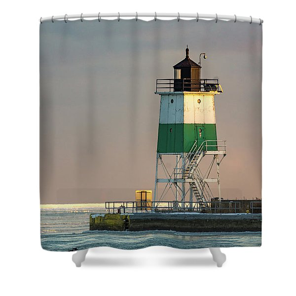 Lighthouse In The Sunset Shower Curtain