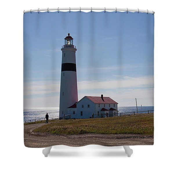 Lighthouse Labrador Shower Curtain