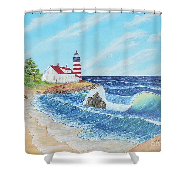 Shower Curtain featuring the painting Lighthouse Life by Mary Scott