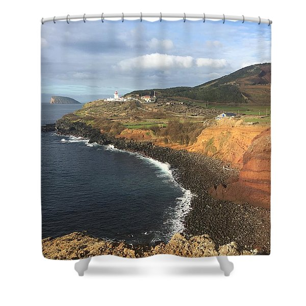 Lighthouse On The Coast Of Terceira Shower Curtain