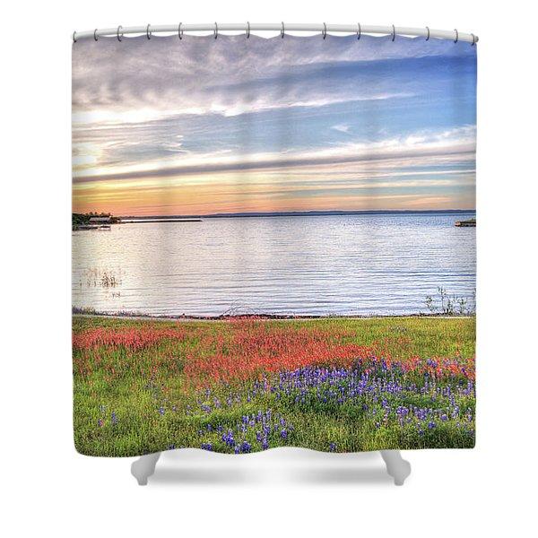 Lighthouse Sunset At Lake Buchanan Shower Curtain