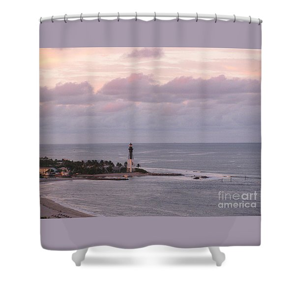 Peach And Lavender Sky At Hillsboro Lighthouse In Florida Shower Curtain