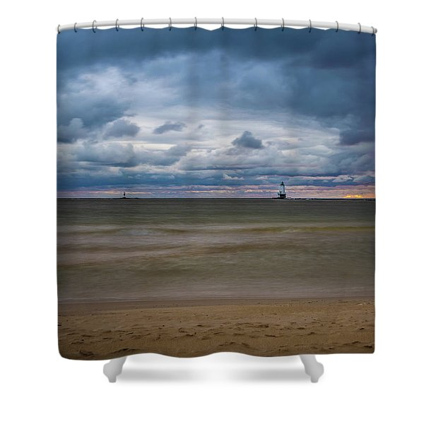 Shower Curtain featuring the photograph Lighthouse Under Brewing Clouds by Lester Plank