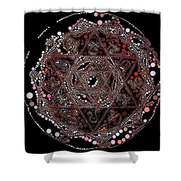 Shower Curtain featuring the digital art Lightmandala 6 Star Morph 4 by Robert Thalmeier