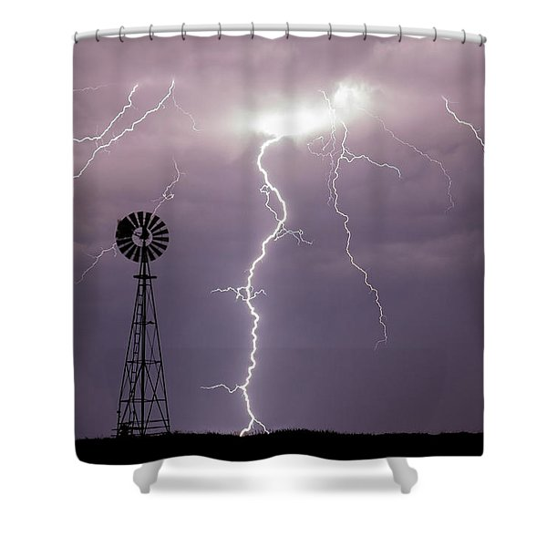 Lightning And Windmill -02 Shower Curtain