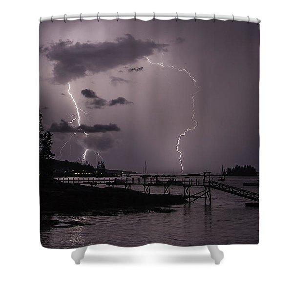 Lightning Over Boothbay Harbor Shower Curtain