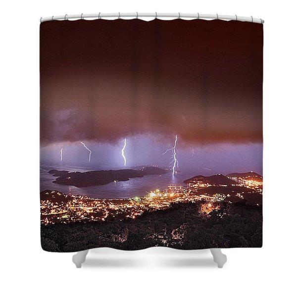 Lightning Over Water Island Shower Curtain