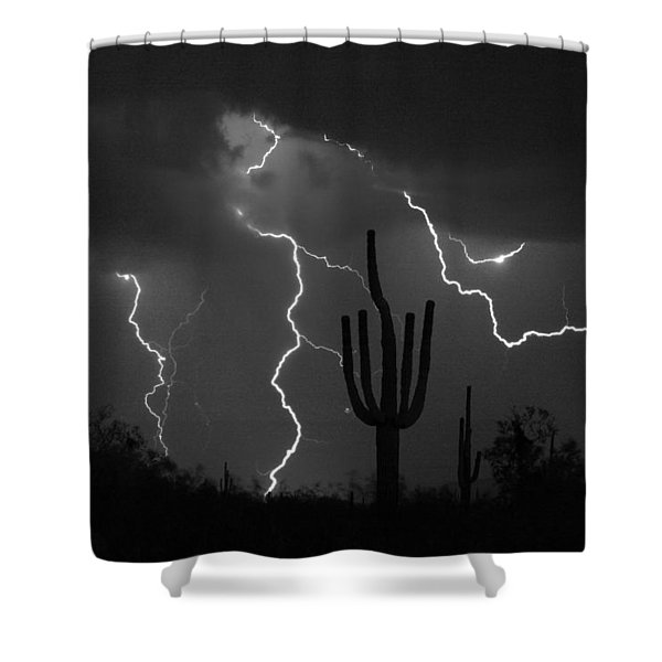 Lightning Storm Saguaro Fine Art Bw Photography Shower Curtain