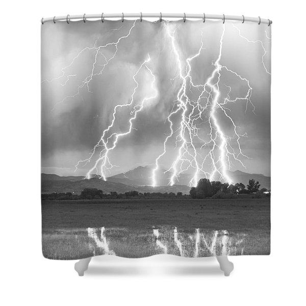Lightning Striking Longs Peak Foothills 4cbw Shower Curtain