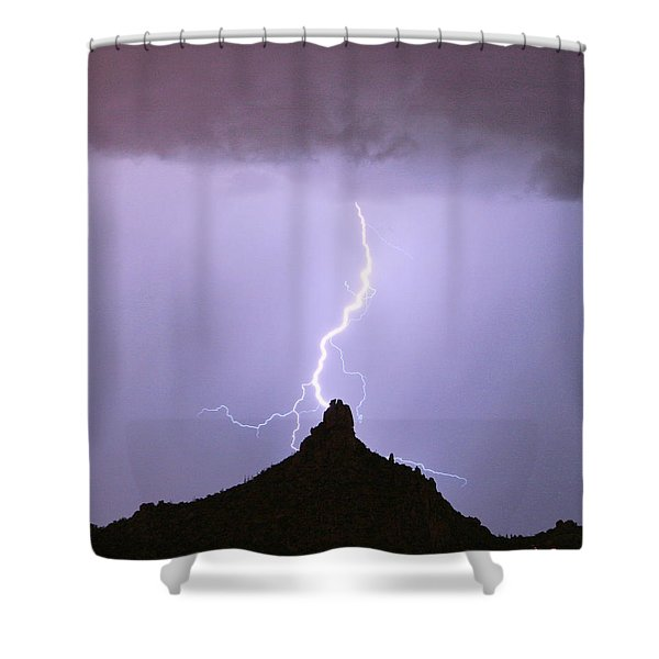 Lightning Striking Pinnacle Peak Scottsdale Az Shower Curtain