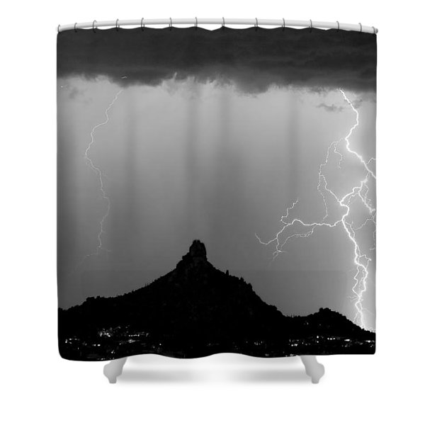 Lightning Thunderstorm At Pinnacle Peak Bw Shower Curtain