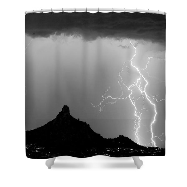 Lightning Thunderstorm At Pinnacle Peak Bw Shower Curtain