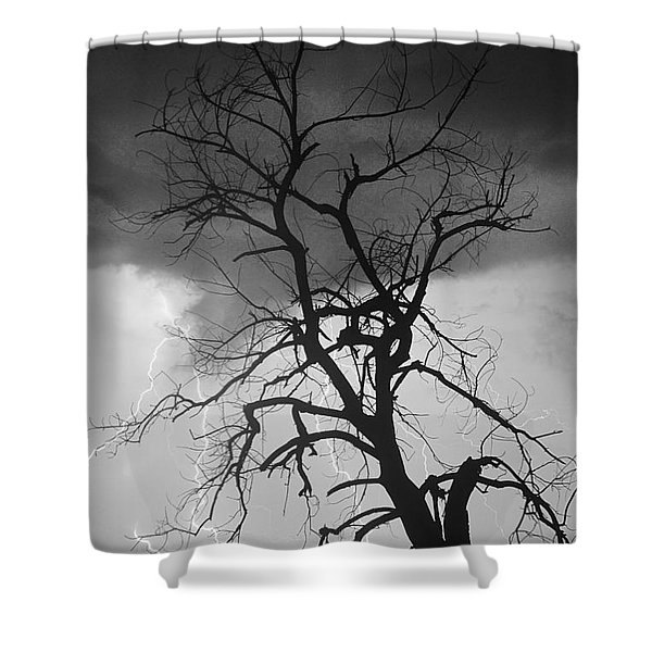 Lightning Tree Silhouette Portrait Bw Shower Curtain
