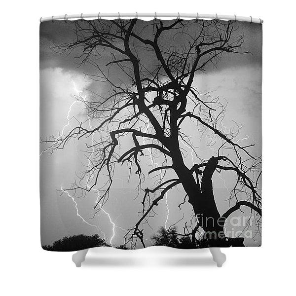 Lightning Tree Silhouette Portrait Bw Shower Curtain