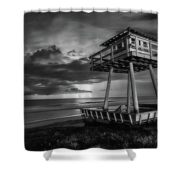 Lightning Watch Tower Shower Curtain
