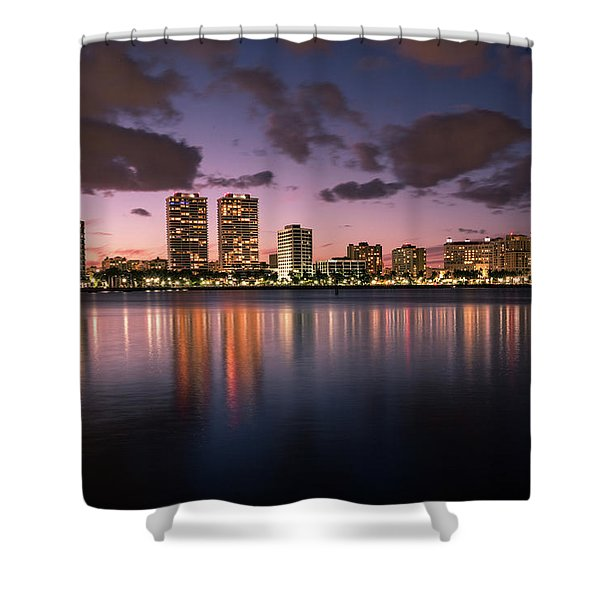 Lights At Night In West Palm Beach Shower Curtain
