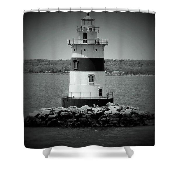 Lights Out-bw Shower Curtain