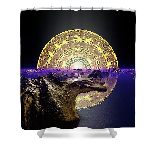 Shower Curtain featuring the digital art Lightscape 24 by Robert Thalmeier