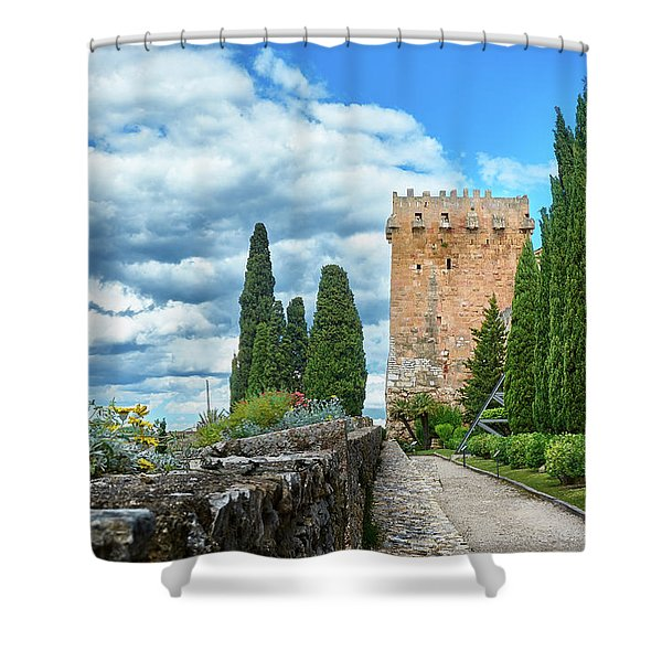 Like A Fortress In The Sky Shower Curtain