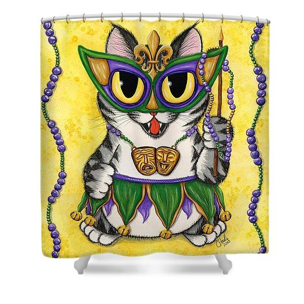 Lil Mardi Gras Cat Shower Curtain
