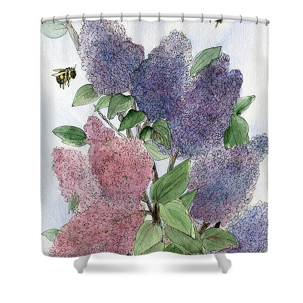 Lilacs And Bees Shower Curtain