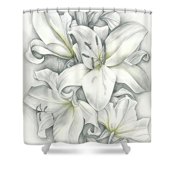 Lilies Pencil Shower Curtain