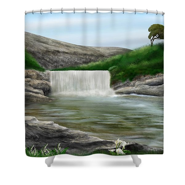 Shower Curtain featuring the digital art Lily Creek by Mark Taylor