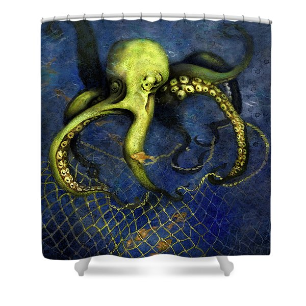 Lime Green Octopus With Net Shower Curtain