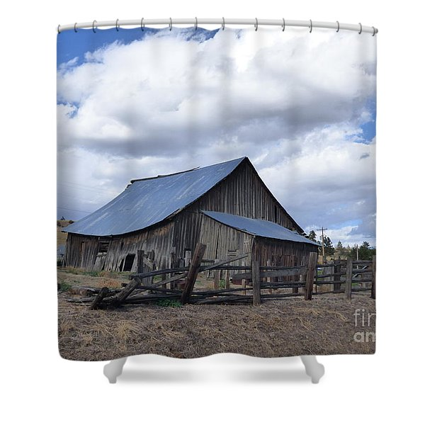 Shower Curtain featuring the photograph Lincoln County Barn by Charles Robinson