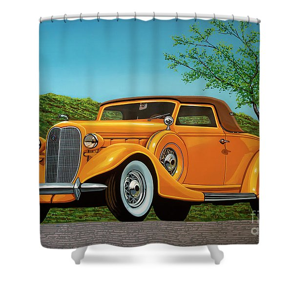 Lincoln K Convertible 1935 Painting Shower Curtain
